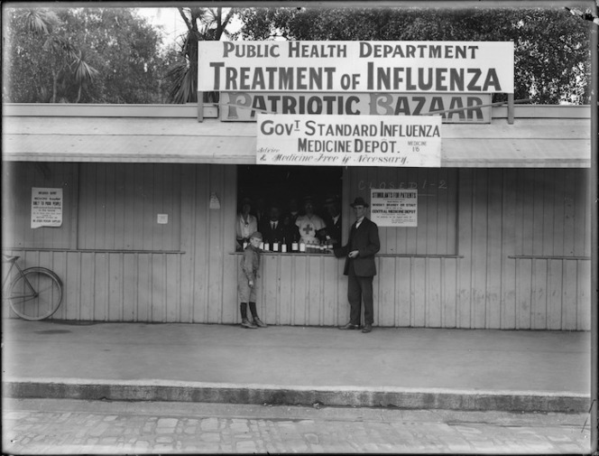 Influenza medicine depot in Christchurch 1918