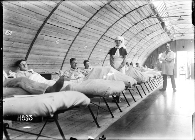 Nurse and patients in the New Zealand Stationary Hospital, Wisques, France