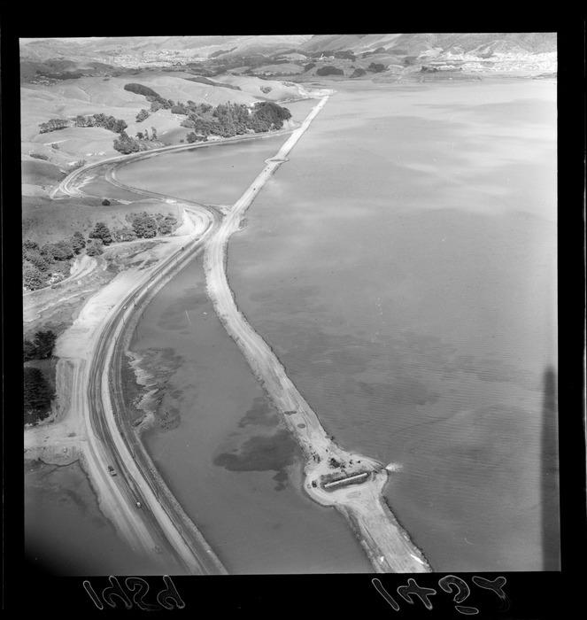 Aerial view of Plimmerton with Porirua railway deviation
