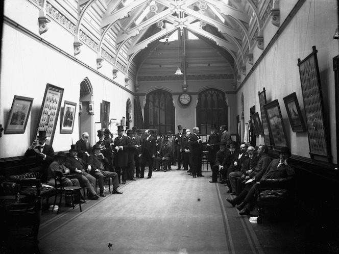 Members of Parliament in the Member's Lobby of the House of Representatives, General Assembly building, Wellington