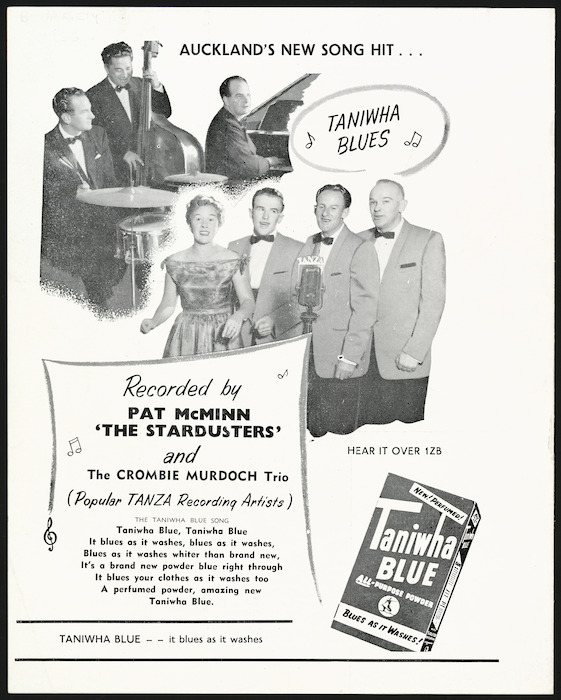 """Auckland's new song hit ... """"Taniwha blues"""", recorded by Pat McMinn, """"The Stardusters"""" and the Crombie Murdoch Trio (popular TANZA recording artists). Taniwha Blue - it blues as it washes [1956]"""
