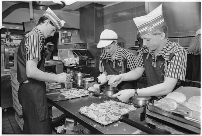 Making hamburgers in McDonalds, Lower Hutt - Photograph taken by Ray Pigney