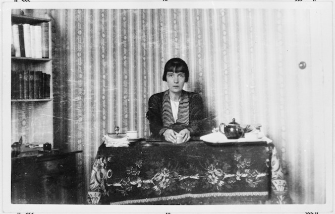 Katherine Mansfield at her work table, Villa Isola, Menton, France