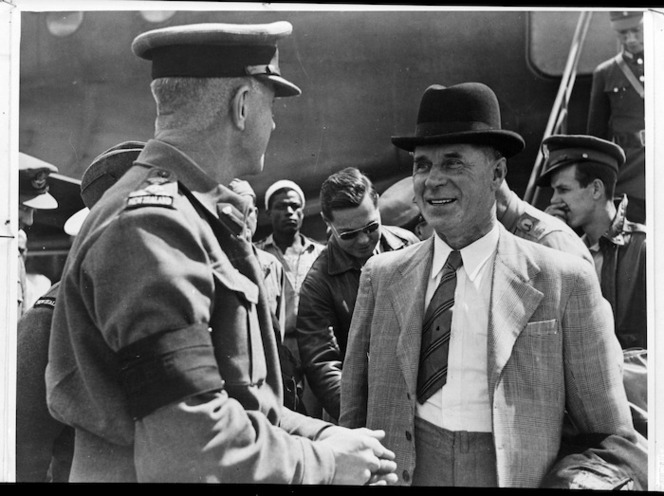 New Zealand Minister of Defence Frederick Jones being greeted by Brigadier William George Stevens on his arrival in Egypt - Photograph taken by S Wemyss
