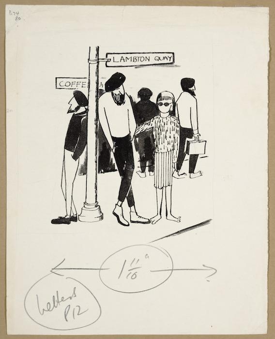 Artist unknown :[Beatniks outside a coffee bar in Lambton Quay. ca 1960]