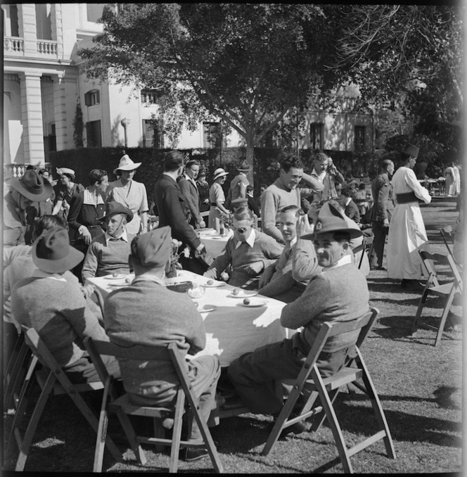 Garden party in Cairo for troops repatriated from Italy - Photograph taken by S Wymess