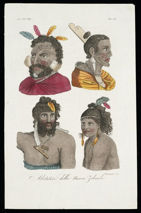 [Various artists] :Abitatori della Nuova Zelanda / Rosaspina inc. [after Piron, William Hodges and Sydney Parkinson]. Asia Vol. VIII. Tav. 68. [ca 1830]