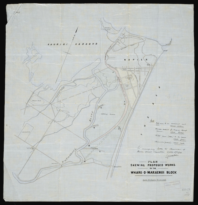 [Kennedy Bros] :Plan shewing [showing] proposed works in the Whare-o-Maraenui Block [ms map]. 1898.