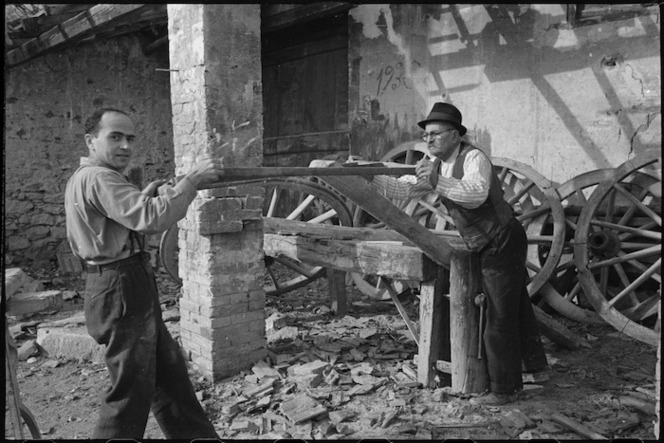 Italian wheelwrights at work in village behind the NZ Sector of the Italian Front in World War II - Photograph taken by George Kaye