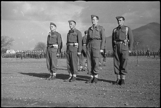 Recipients of awards presented at 6 NZ Infantry Brigade parade in the Volturno Valley, Italy, World War II - Photograph taken by George Kaye