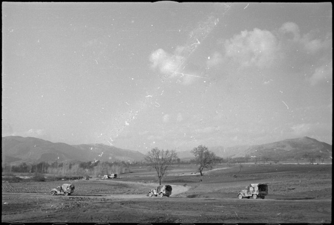 Type of country in the Volturno Valley where NZ Division units are camped, Italy, World War II - Photograph taken by George Kaye