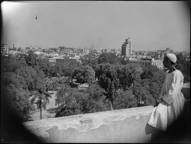 General view of Cairo with Ezbakiah Gardens in the foreground - Photograph taken by G Kaye