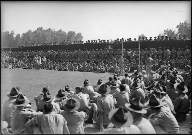 High jump event at NZ versus South African Artillery sports at Maadi Sports Club grounds, Egypt - Photograph taken by George Kaye