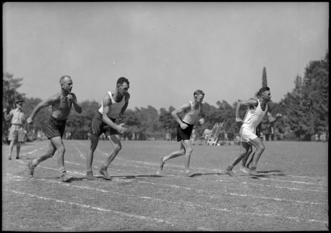 Beginning of the mile walk in NZ versus South African Artillery sports at Maadi Sports Club grounds, Egypt - Photograph taken by George Kaye