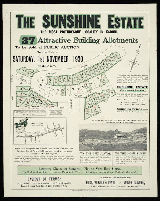 The Sunshine estate, the most picturesque locality in Karori [cartographic material] : 37 attractive building allotments / surveyed by Gandar & Gardiner.