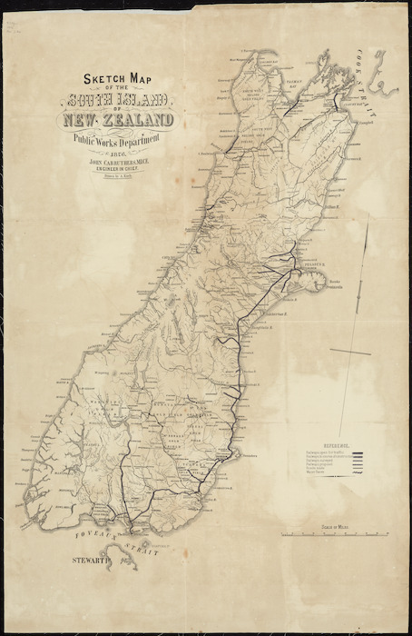 Map New Zealand South Island.Sketch Map Of The North Island New Z Items National Library