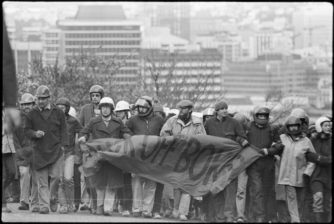 Demonstrators protesting against a South African rugby tour, Wellington