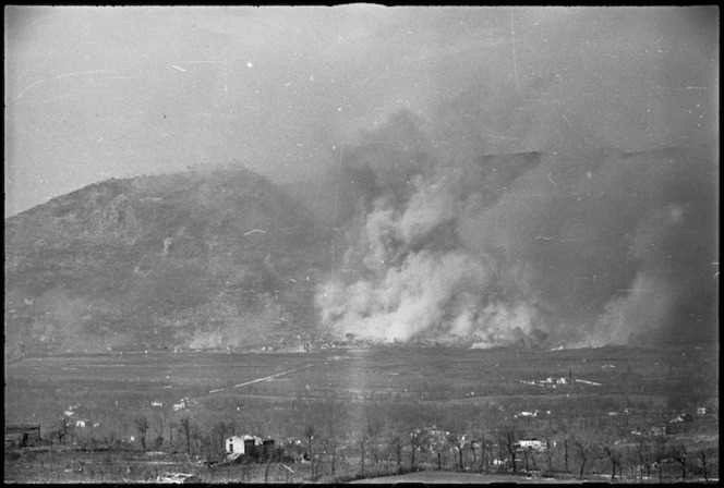 Bombs bursting on the Italian town of Cassino, World War II - Photograph taken by George Kaye