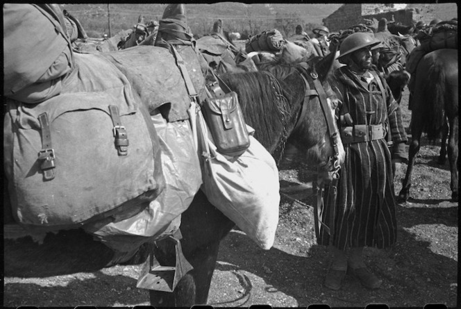 French Moroccan trooper's equipment packed on his horse on the Cassino Front in Italy, World War II - Photograph taken by George Kaye