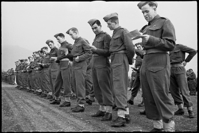 Some of the personnel taking part in NZ Army Service Corps church service in the Volturno Valley area, Italy, World War II - Photograph taken by George Kaye