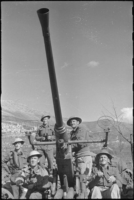 NZ anti aircraft gun and crew on alert for enemy planes on the Cassino Front, Italy, World War II - Photograph taken by George Kaye