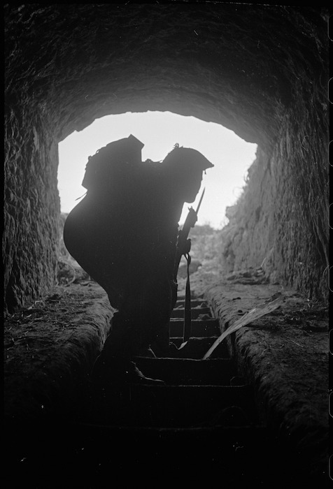 Soldier on the Cassino battlefront, Italy - Photograph taken by George Kaye
