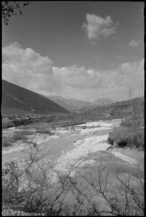 Looking along the Volturno River near the forward areas of the Italian Front, World War II - Photograph taken by George Kaye