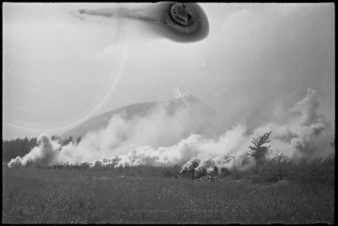 Well laid smoke screen put down as Allied attack on Cassino proceeds, Italy, World War II - Photograph taken by George Kaye