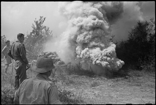 Smoke screen being laid in Cassino as Allied attack proceeds, Italy, World War II - Photograph taken by George Kaye