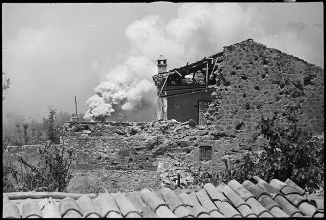 Smoke screens laid around Cassino as Allied attack proceeds, Italy, World War II - Photograph taken by George Kaye