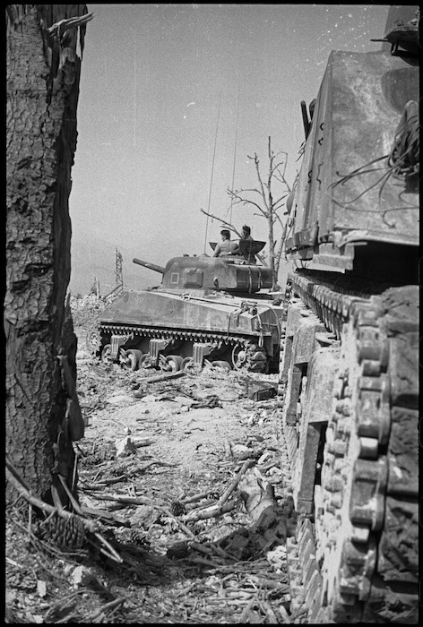 New Zealand tanks in ruins of Cassino the day it was taken by 8th Army, Italy, World War II - Photograph taken by George Kaye