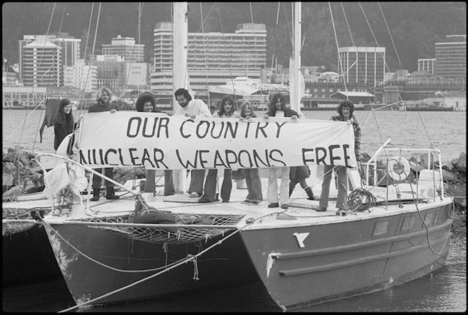 CANWAR protesters on a yacht in Wellington Harbour, protesting against the entrance of American nuclear warships into Wellington