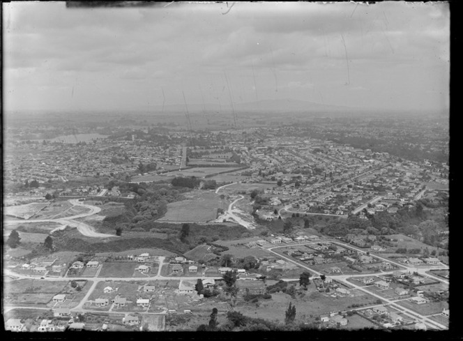 View southeast and the suburb of Maeroa with Edgecumbe Park gully in foreground, with Hamilton City and Lake Rotoroa beyond