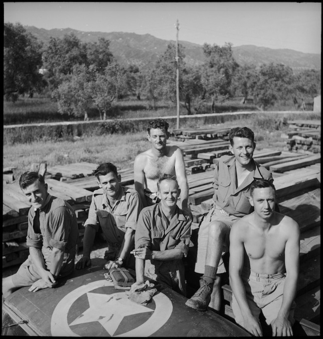 Some members of the New Zealand Forestry Unit in southern Italy, World War II - Photograph taken by M D Elias