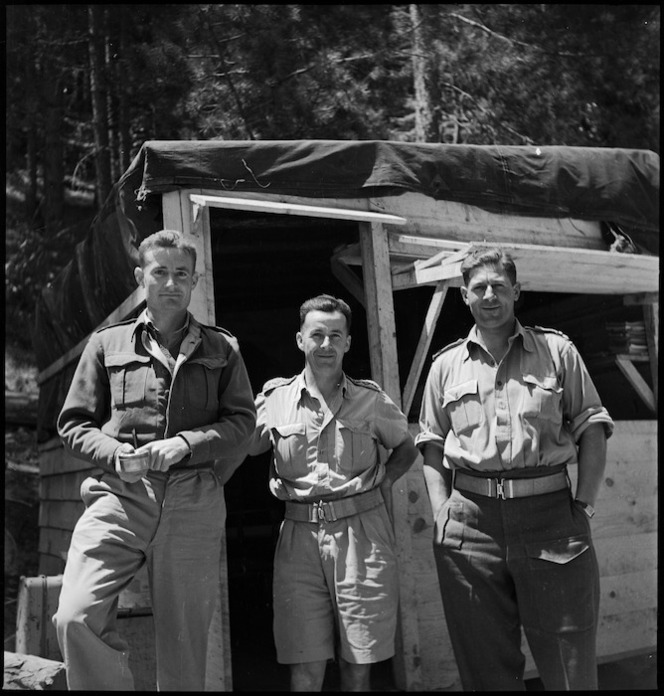 Officers of the New Zealand Forestry Unit in southern Italy, World War II - Photograph taken by M D Elias