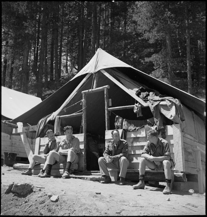 Group of New Zealand Forestry Unit members in southern Italy, World War II - Photograph taken by M D Elias