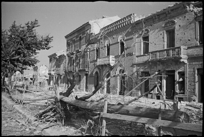 The deserted and ruined main street of Orsogna, Italy, World War II - Photograph taken by George Kaye