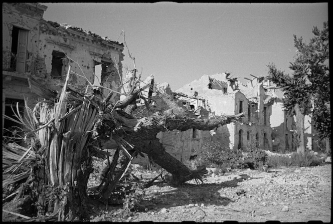 A deserted main street of Orsogna, Italy, World War II - Photograph taken by George Kaye