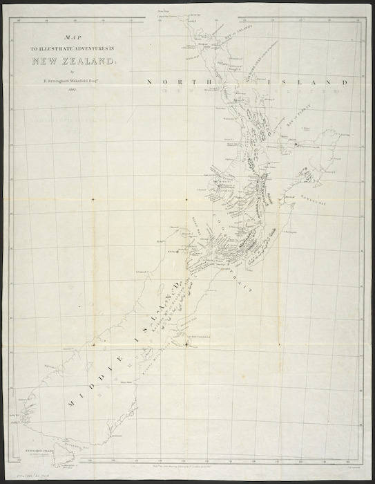Map to illustrate Adventures [i.e. Adventure] in New Zealand by E. Jerningham Wakefield, 1845 [cartographic material] / J. Arrowsmith.
