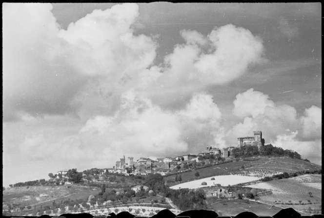Village and castle of Gradara Italy, near which New Zealand Division camped in Adriatic sector, World War II - Photograph taken by George Kaye