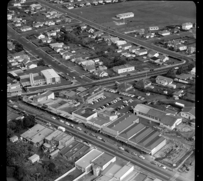 Mt Roskill/Onehunga area, Auckland, with shopping centre including Woolworths, and church on left