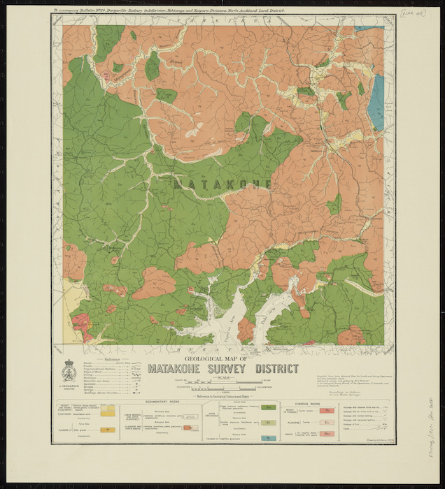 Geological map of Matakohe survey district [cartographic material] / drawn by G.E. Harris ; compiled from data obtained from the Lands and Survey Department and from Admiralty charts ; additional surveys and geology by H.T. Ferrar of the Geological Survey Branch of the Department of Scientific and Industrial Research.