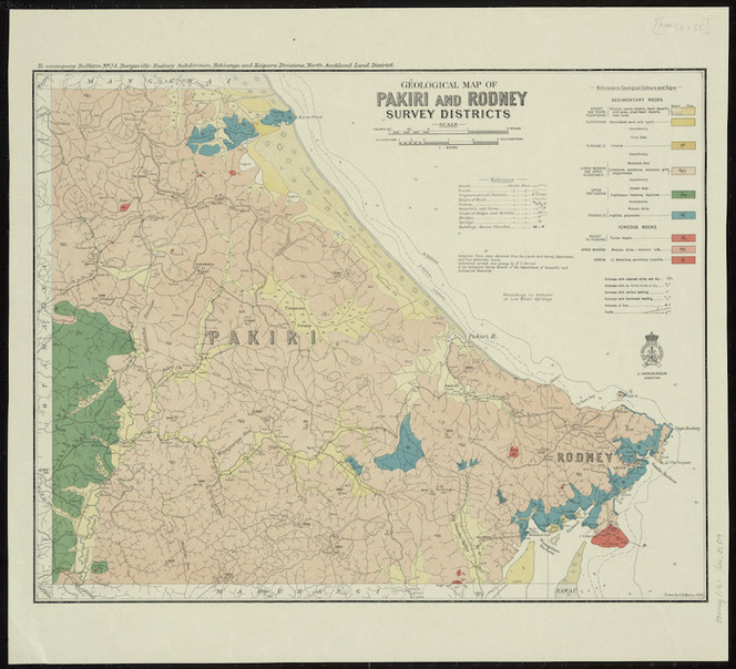 Geological map of Pakiri and Rodney survey districts [cartographic material] / drawn by G.E. Harris.