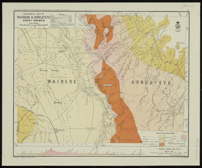 Geological map of Wairere & Aongatete survey districts [cartographic material] / compiled and drawn by G.E. Harris.