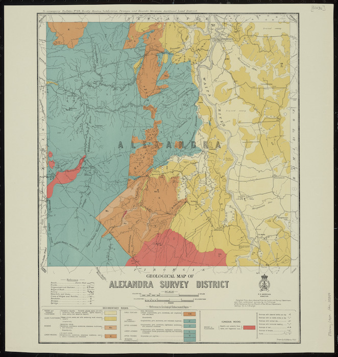 Geological map of Alexandra survey district [cartographic material] / drawn by G.E. Harris.