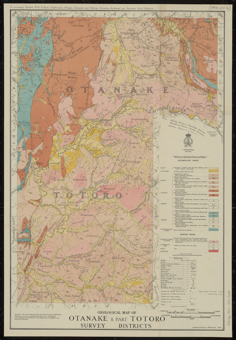 Geological map of Otanake & part Totoro survey districts [cartographic material] / compiled and drawn by A.W. Hampton.