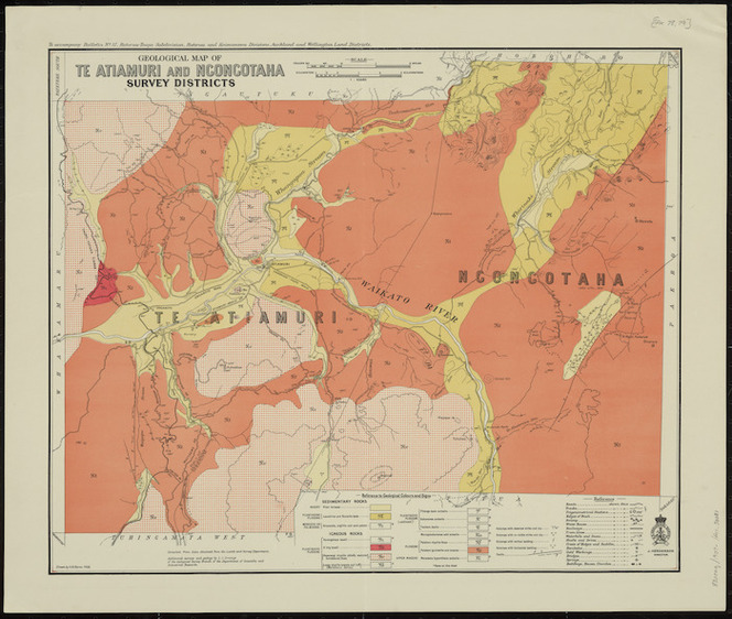 Geological map of Te Atiamuri and Ngongotaha survey districts [cartographic material] / drawn by G.E. Harris.
