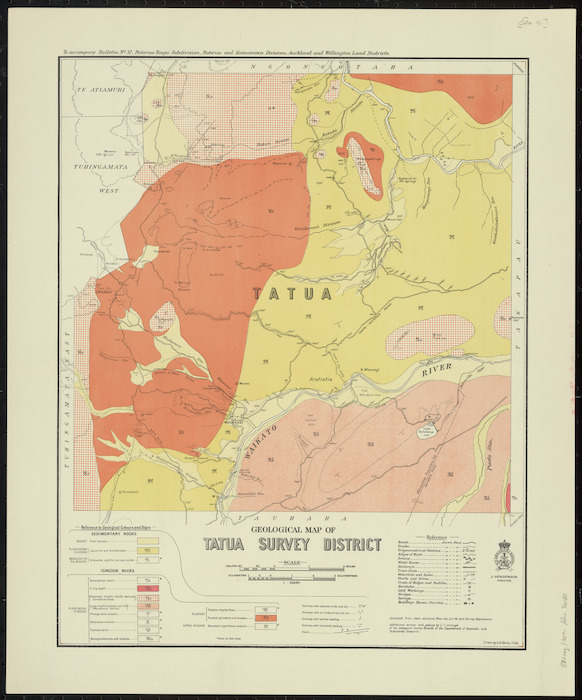 Geological map of Tatua survey district [cartographic material] / drawn by G.E. Harris.