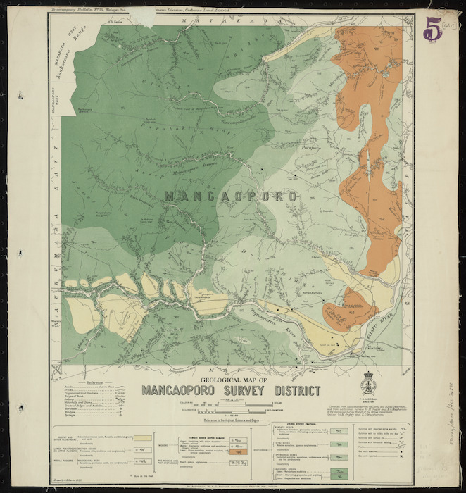 Geological map of Mangaoporo survey district [cartographic material] / drawn by G.E. Harris.