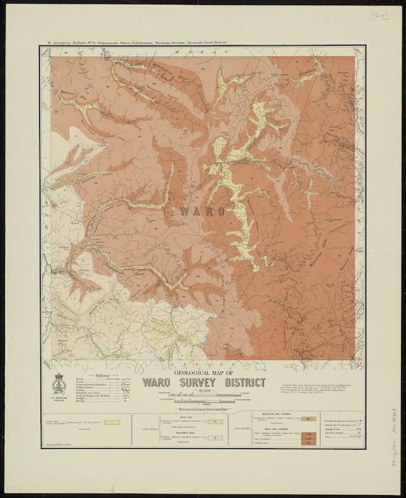 Geological map of Waro Survey District [cartographic material] / drawn by G.E. Harris.